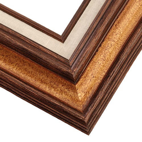 Traditional walnut picture frame made from natural,  wood canvas picture frame