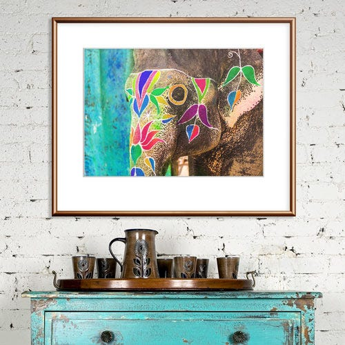 111FCP copper frame with elephant art in rustic room