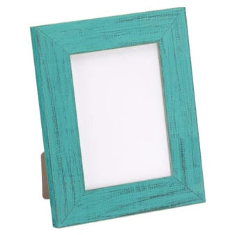 Rustic table top chalk paint finish teal wood frame
