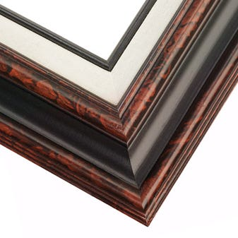 Traditional style Burled Mahogany w/ Black wood Frame 14