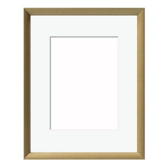 Gold metal picture frame including a mat and glass