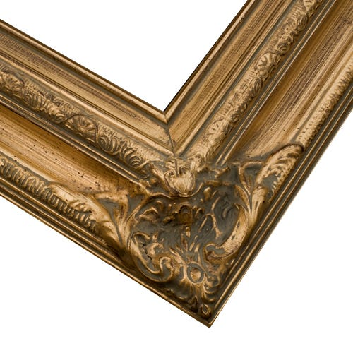 Gold ornate corners brushed wood picture frames