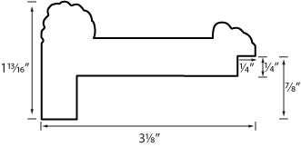 Gold wood plein air picture frame profile drawing with measurements