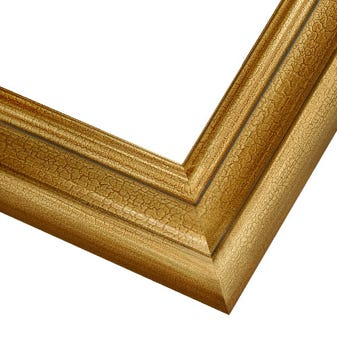 Classic Gold Picture Frame WIth Crackled Finish And Scooped Profile