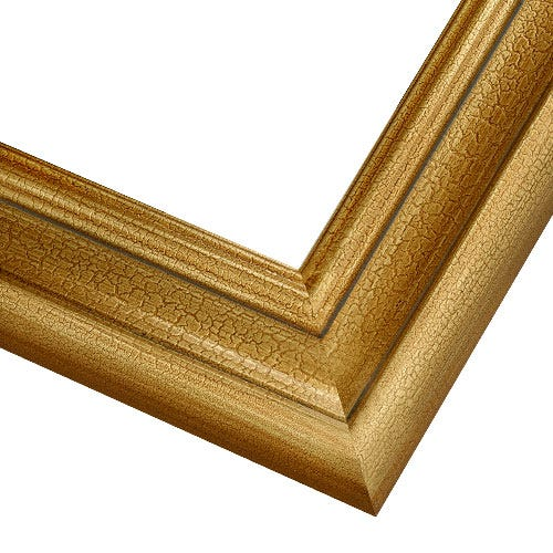 Classic Gold Picture Frame WIth Crackled Finish And Scooped Profile 2AN