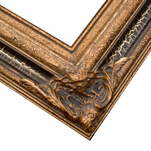 Museum Gold Picture Frame WIth Antiqued Details and Ornate Corners