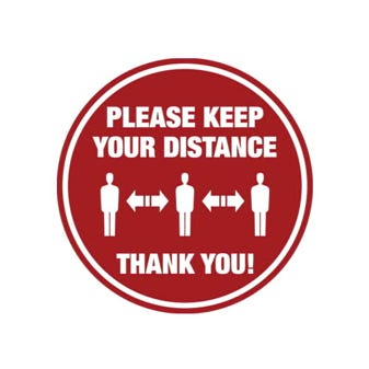"16"" Red and White Social Distancing Round Floor Decal"