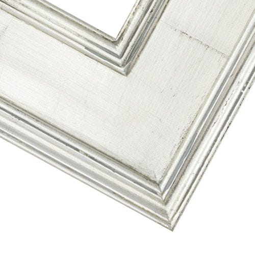 Bright Silver Picture Frame With Bright Silver Leaf Finish 2PG