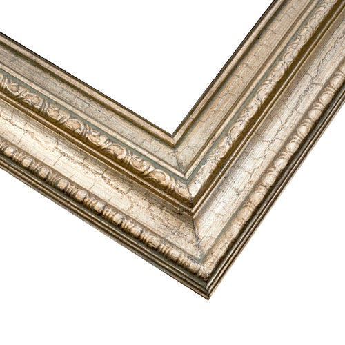 Warm Silver Picture Frame With Relief Details And Soft Patina 3ETL