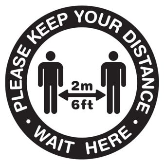 """24"""" Black and White Social Distancing Round Floor Decal"""