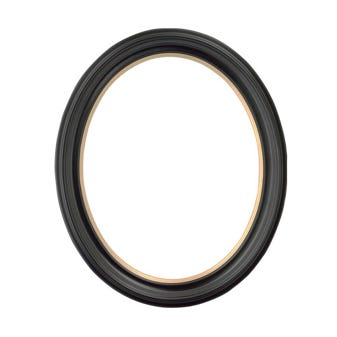 Black Oval Picture Frame With Gold Trim