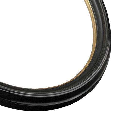 Black Oval Picture Frame With Satin FInish And Bright Gold Accent