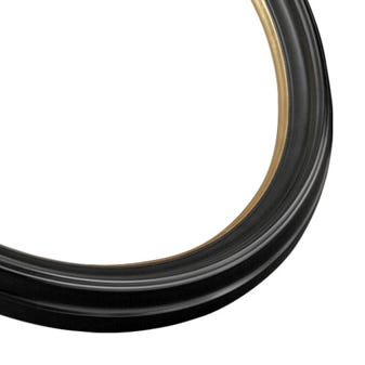 Black Oval Picture Frame With Satin FInish And Bright Gold Accent 3OV
