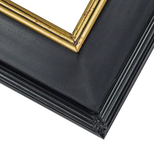 Classic Black And Gold Plein Air Picture Frame With Crimson and Gold Inner Lip