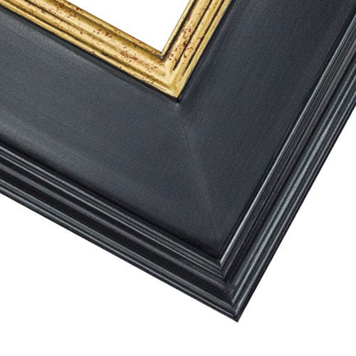 Black Plein Air Picture Frame With GoldInner Lip And Crimson Accents