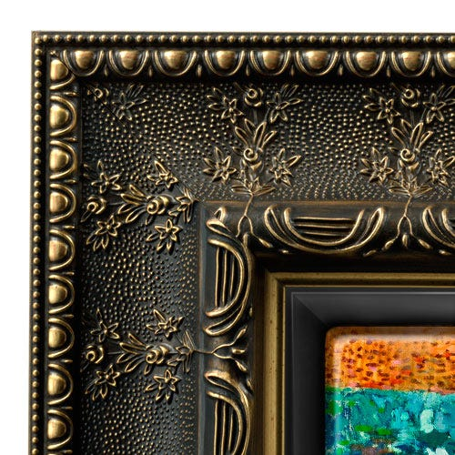Wide gold floral themed custom picture frame with canvas floater insert.