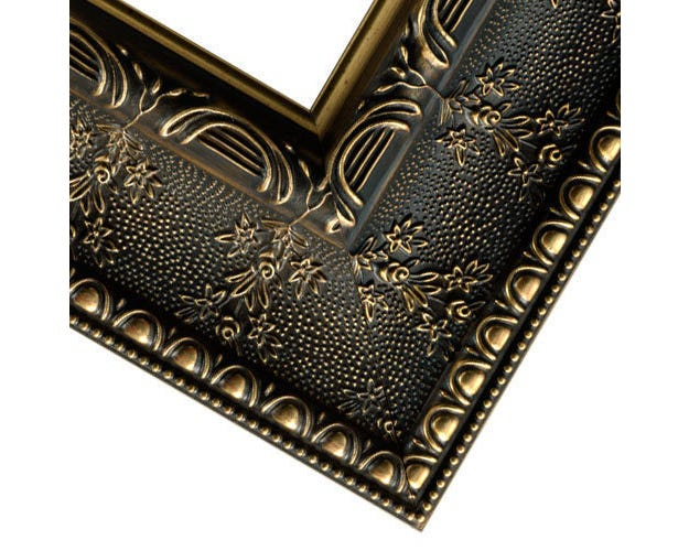 Ornate custom gold and antique brown floral picture frame 3VS