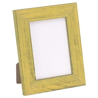 Yellow Tabletop Picture Frame With Distressed Finish 4BPT