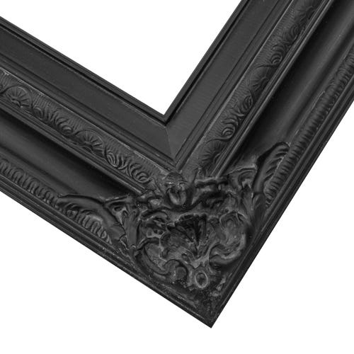 Ornate Black Picture Frame With Relief Details And Warm Gray Patina