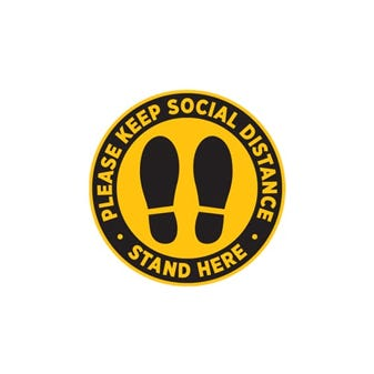 "10"" Yellow and Black Social Distancing Footprints Round Floor Decal"