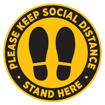 "24"" Yellow and Black Social Distancing Footprints Round Floor Decal"