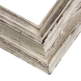 Rustic White Picture Frame With Whitewash Finish And Built-In Wood Liner