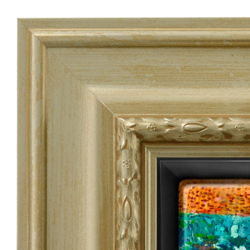 Gold Canvas Floater Picture Frame With Decorative Trim