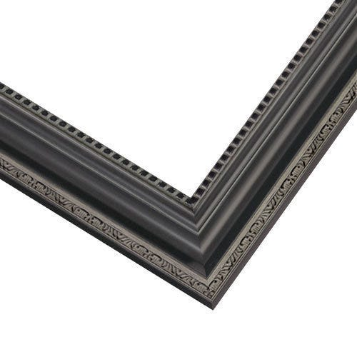 Elegant Black Picture Frame With Etched Motifs