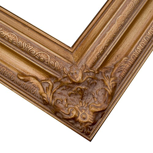 Ornate Gold Picture Frame With Sculpted Corners And Soft Patina