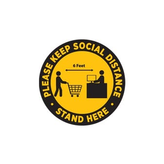 "10"" Yellow and Black Social Distancing Round Floor Decal"