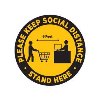"16"" Yellow and Black Social Distancing Round Floor Decal"