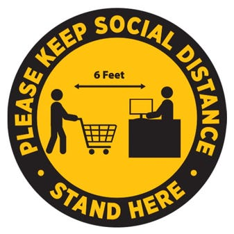 "24"" Yellow and Black Social Distancing Round Floor Decal"