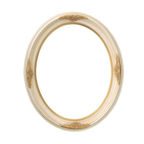 Brushed Ivory with Ornate Gold Oval Picture Frame
