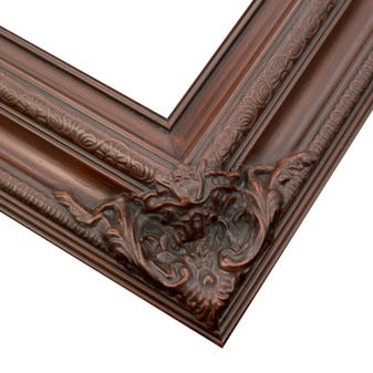 Traditional Dark Cherry Picture Frame With Ornate Corner And Relief Details