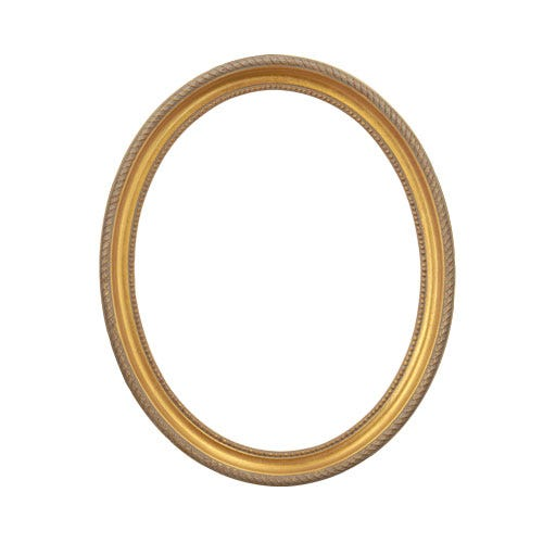 Oval Brushed Gold Ornate Wood Picture Frame