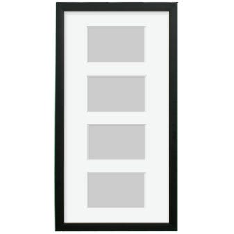 All Inclusive Black Picture Frame With White Mat and 4 Openings 8CF1020