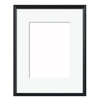 Black Satin Picture Frame With White Mat 8AP