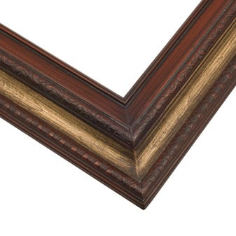 Traditional Cherry Picture Frame WIth Antique Gold Wash And Gray Patina
