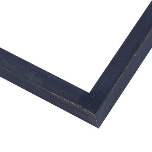 Rustic Navy Blue Picture Frame With Textured Wood Grain