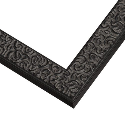 Modern Black Picture Frame With Swirl Etchings BT3
