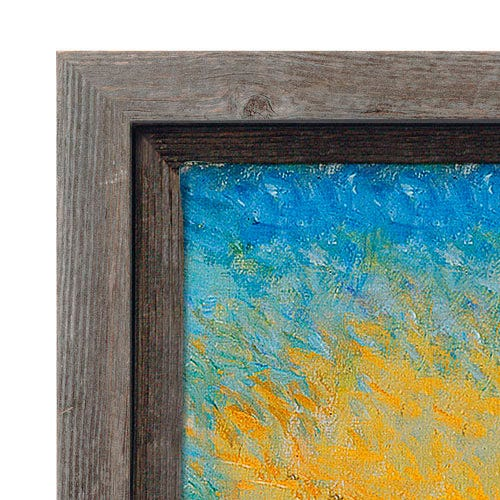 Rustic Gray Canvas Floater Picture Frame With Natural Weathering
