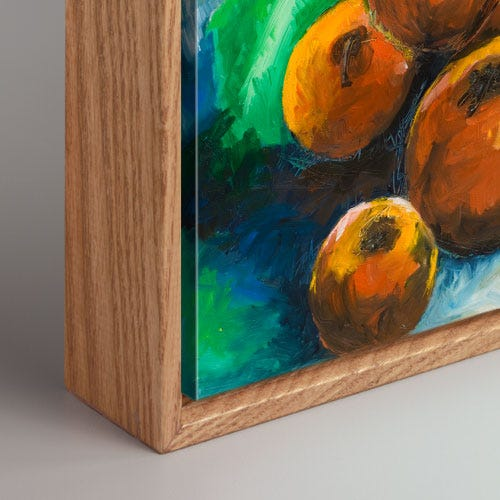 Modern Natural Canvas Box Picture Frame With Wood Grain Details