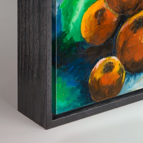 Modern Black Canvas Box Picture Frame With Wood Grain Details