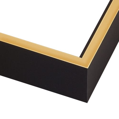 Modern Black Canvas Floater Frame With Gold Face