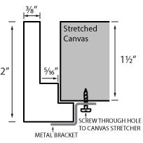Modern Silver Canvas Floater Frame With Silver Leaf Finish Profile Diagram Drawing