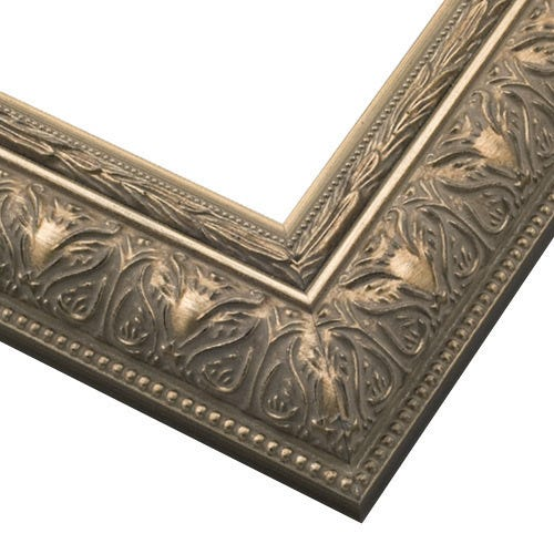 Warm Silver Picture Frame With Patina Finish And Beading