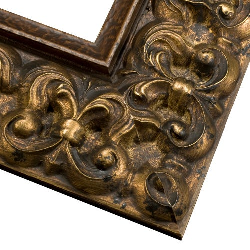 Antique Gold Picture Frame With Dark Patina And Antique Finish