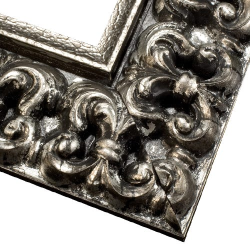 Antique Silver Picture Frame With Dark Patina And Antique Finish
