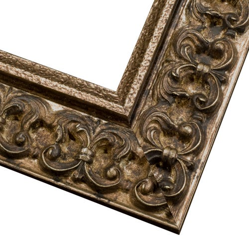 Antique Champagne Picture Frame With Dark Patina And Antique Finish