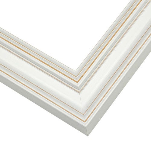 Contemporary White Picture Frame With Subtle Distressing CUS9